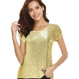 3/$25 Lecceca Gold Front Sequin Top T-Shirt Style